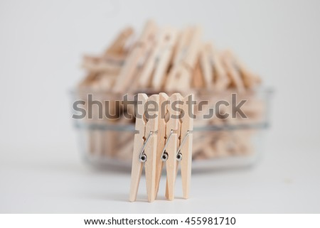 Wooden clothespins - stock photo