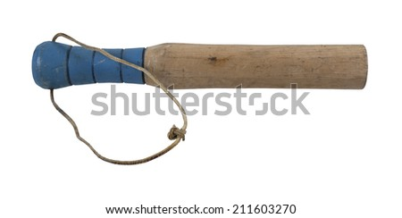 Wooden club with carved handle and leather strap - path included - stock photo