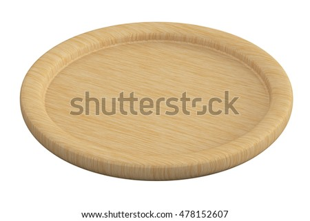 Wooden coaster. Isolated on white background.  3d render