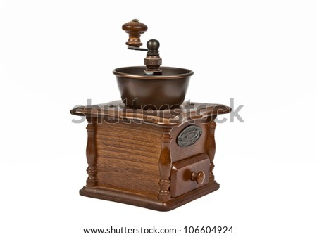 wooden coffee machine isolated on white background