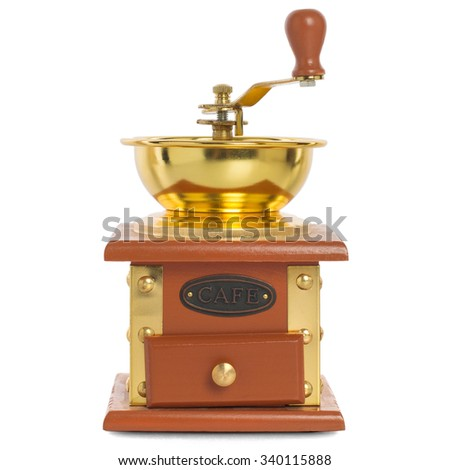 Wooden coffee mill with gold-plated metal isolated on white background