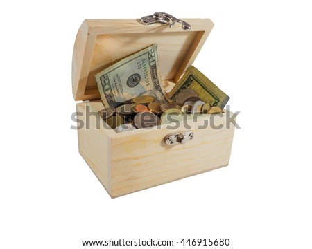 wooden coffer treasure,safe money on white background