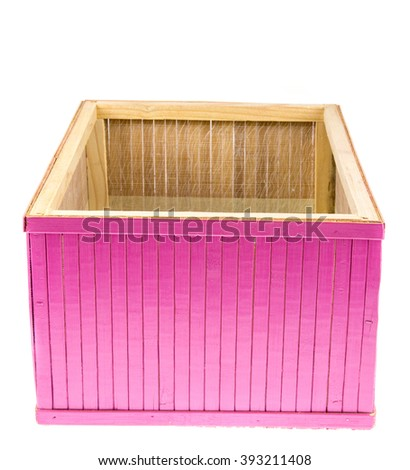 Wooden color box isolated on white background