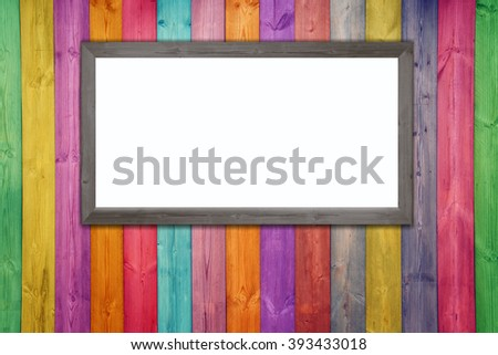 Wooden color room and floor with whiteboard and white space for text, photo frame, picture - stock photo