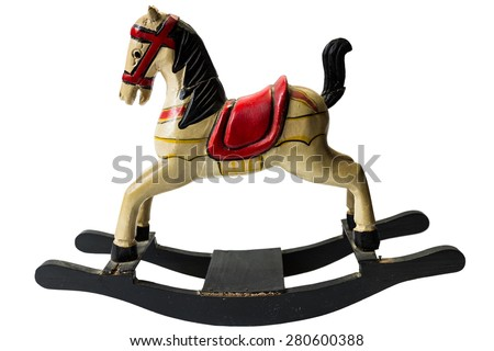 Wooden colored rocking horse - stock photo