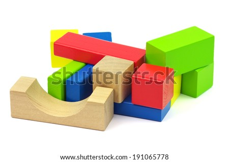 Wooden colorful bricks isolated on white background. Wooden toy building blocks  - stock photo