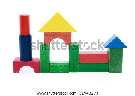 Wooden colorful cubes on white background