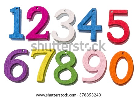 Wooden colorful numbers from 0 to 9 isolated on white background - stock photo