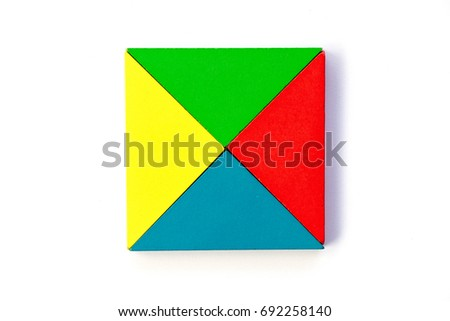 Wooden colorful toy block in triangle shape build to square design on white background