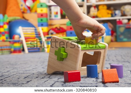 wooden colour toy in room for children - stock photo