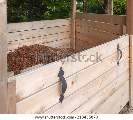 wooden compost bin  - stock photo