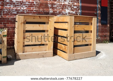 Wooden compost bins - stock photo