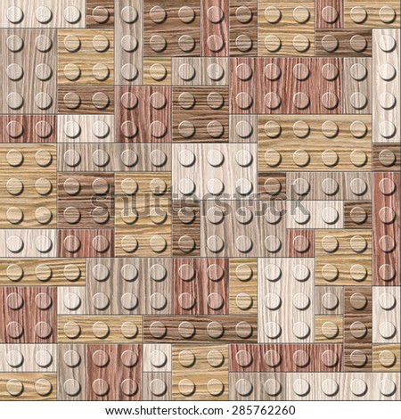 Wooden construction blocks stacked for seamless background - Blasted Oak Groove wood texture - stock photo