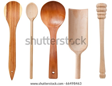 Wooden cooking utensils isolated on white background with clipping path
