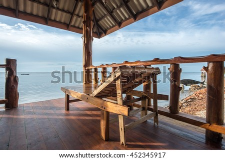 wooden couch for sea view