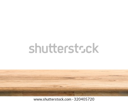 wooden counter top isolated on white - stock photo