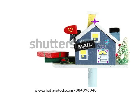wooden craft house mailbox with gift of holiday - stock photo