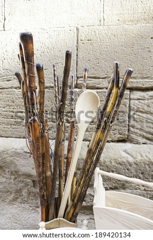 Wooden craft sticks, detail about walking sticks handmade - stock photo