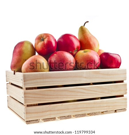 Wooden crate box full of fresh apples and pear isolated on a white background - stock photo