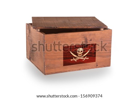 Wooden crate isolated on a white background, pirate - stock photo