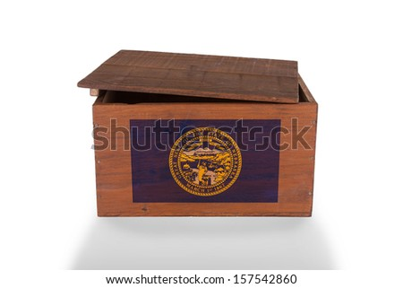 Wooden crate isolated on a white background, product of Nebraska