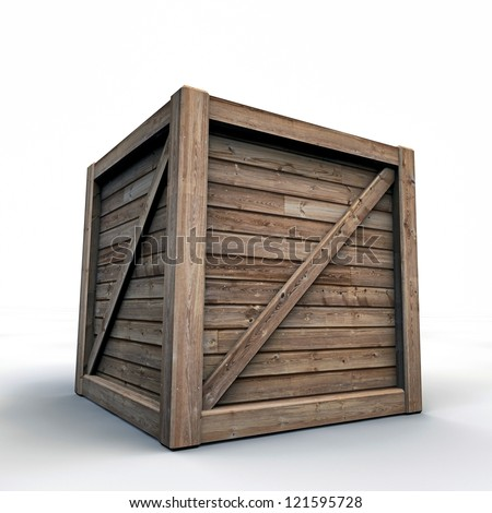 wooden crate isolated on white background - stock photo