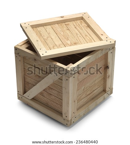Wooden Crate With Lid Open Isolated on White Background. - stock photo
