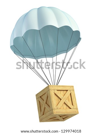 wooden crate with parachute - stock photo