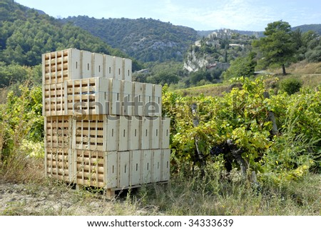 Wooden crates in the vineyard, ready for the harvest in France