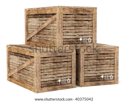wooden  crates on white background
