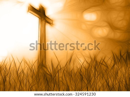 wooden cross in grass made in 3d software - stock photo