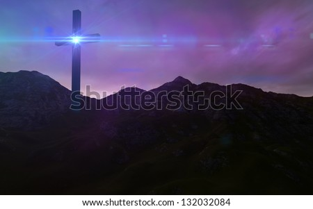 Wooden cross in night - stock photo