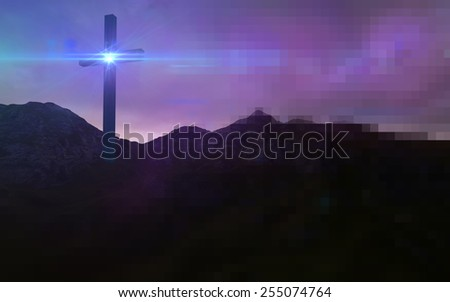 Wooden cross in night Wooden cross in night made in 3d software - stock photo