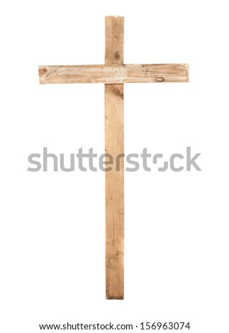 Wooden cross on a white background. - stock photo
