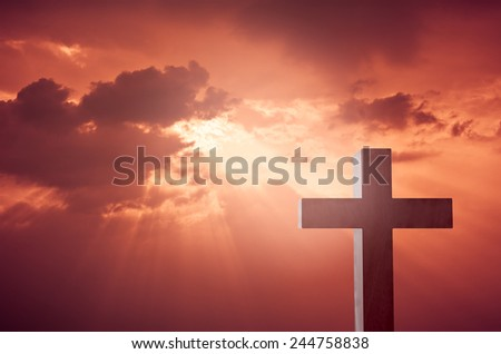 Wooden Cross render against the blood-red sky - stock photo