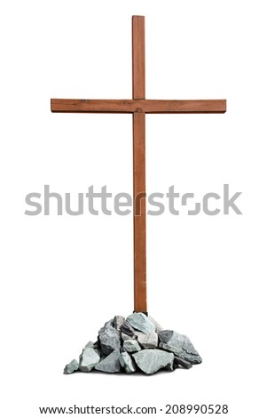 Wooden cross with pile of stones isolated on white background - stock photo