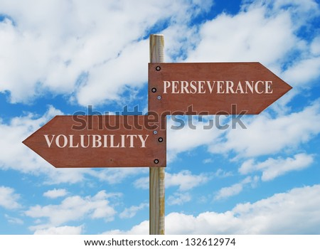 wooden crossroad sign on cloudy background with PERSEVERANCE and VOLUBILITY  writing - stock photo