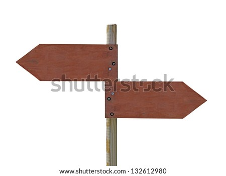 wooden crossroad sign on white background - stock photo
