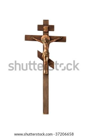 Wooden Crucifix isolated on white background with clipping path