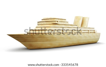 Wooden cruise liner isolated on white background. 3d render image.
