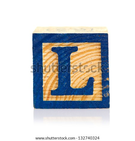wooden cube alphabet - stock photo