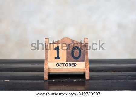Wooden cube calendar for 10th October