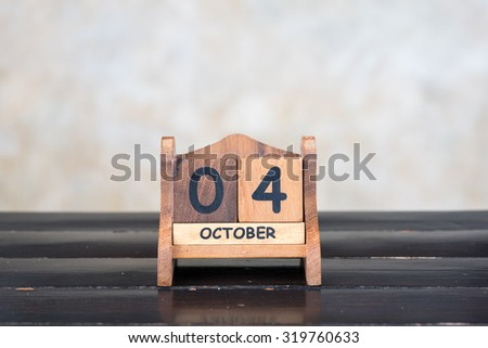 Wooden cube calendar for 4th October