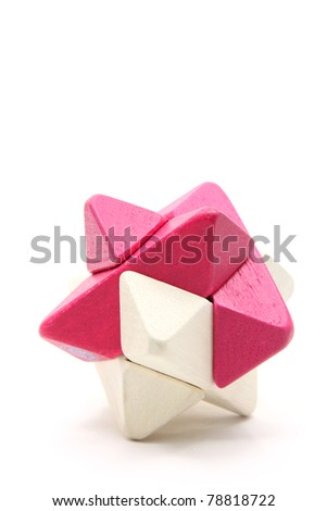 wooden cube puzzle suitable for kid learning isolated on white background - stock photo
