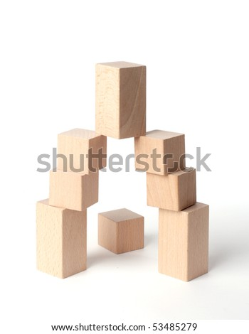 Wooden cubes on isolated white background