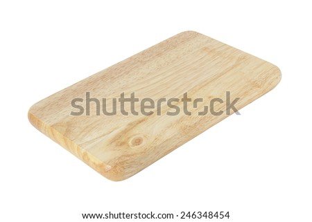 Wooden cutting board isolated on a white background  - stock photo