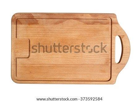 Wooden cutting board. Isolated with clipping path.