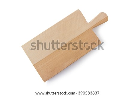 Wooden cutting board on top view, isolated white background