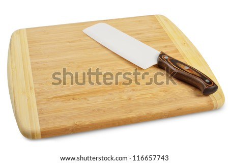 Wooden cutting board with a kitchen knife. Isolated on white.