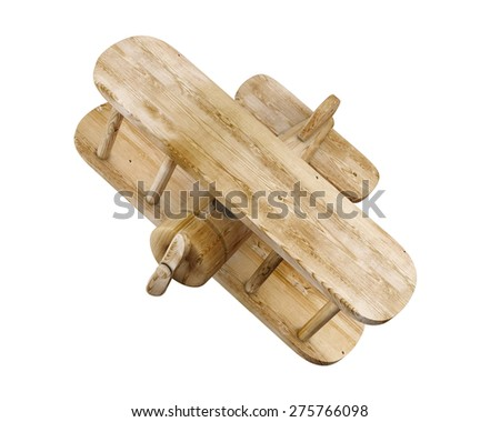 Wooden 3d plane isolated on white background. 3d render image. - stock photo